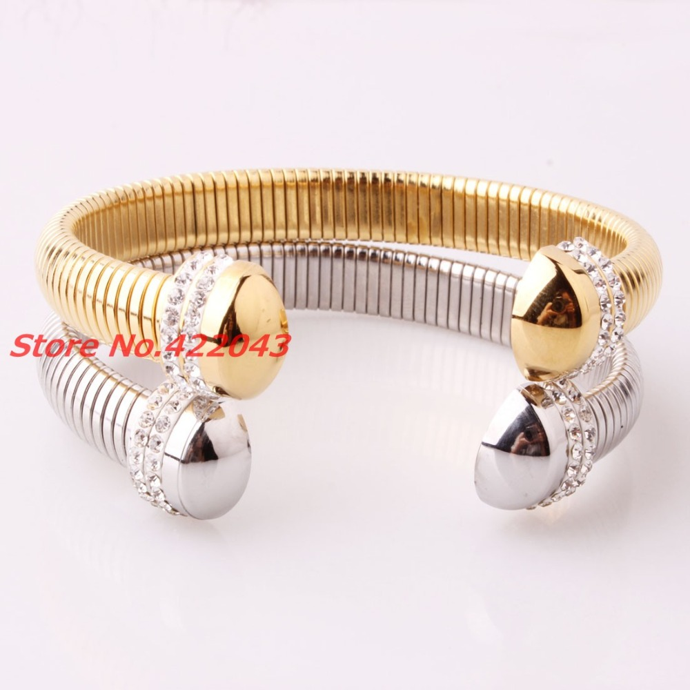 fca224c90ce Fashion 8mm Novelty Silver Or Gold Tone Stainless Steel Women's Cuff Bangle  With top Crystal CZ Jewelry Bracelet Christmas Gift-in Chain & Link  Bracelets ...