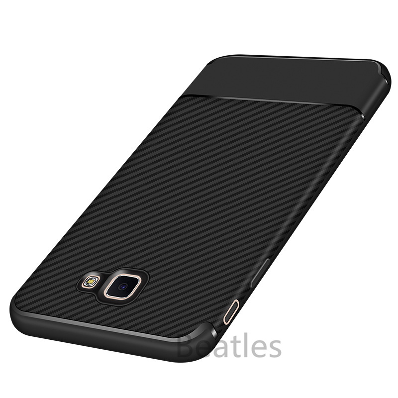 Galleria fotografica Soft Silicone 360 Full Cover for Samsung Galaxy J5 Prime Carbon Fiber Case Shockproof Anti-Knock Luxury Back Protection Case