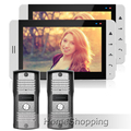 """FREE SHIPPING New Wired 7"""" Touch Screen Video DoorPhone Intercom System With 2 White Monitors + 2 Metal Doorbell Camera IN STOCK"""