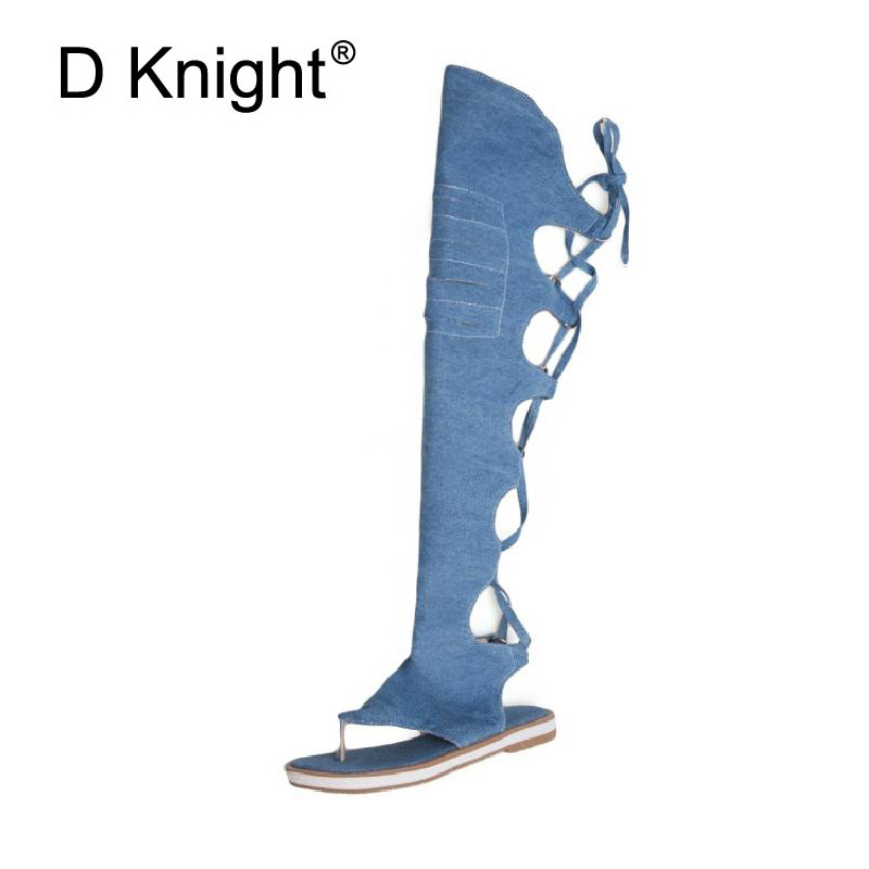 Women Sandals Casual Summer High Boot Shoes Woman Denim Flat Heel Sandalias Lace Up Platform Sandals For Women Blue Canva Shoes pinsen 2017 summer women flat platform sandals shoes woman casual air mesh comfortable breathable shoes lace up zapatillas mujer
