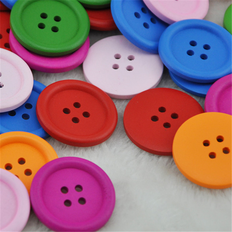 New 20pc 30MM Mix Color Wood Button 4 Holes Craft Sewing Big Size WB46