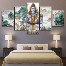 цена на HD Printed Painting Canvas Landscape 5 Pieces Hindu Lord Shiva And Bull Nandi Room Decor Wall Art Frame Poster Modular Picture