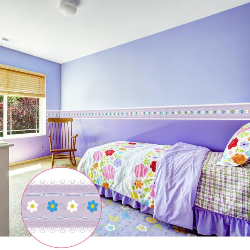 US $9.89 37% OFF|Lovey Small Flowers Wallpaper Borders Baby Girl Rooms Wall  Decor Stickers diy Waterproof Bathroom Kitchen Tile Decoration EZ061-in ...