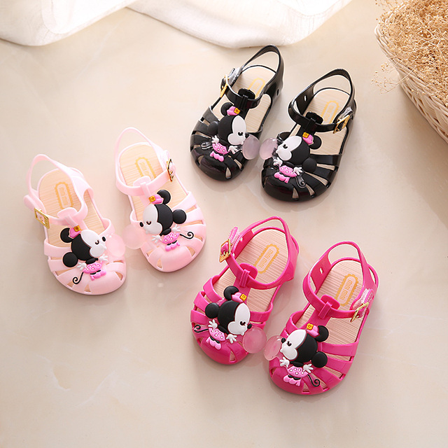 kids shoes 2017 New Mini Melissa Mickey Sandals Jelly Crystal Children Shoes Mickey Minnie Girls Slippers Princess Shoes