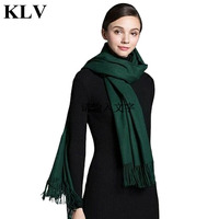 KLV Solid Color Long Square Scarves Charming Women Soft Comfortable Winter Warm Scarf Shawl Brand High