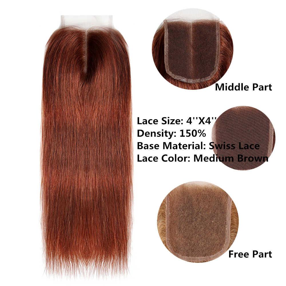 99J/عنابي اللون الأحمر شعر طبيعي مفرود الدانتيل إغلاق 4x4 بوصة شحن/الجزء الأوسط X-TRESS البرازيلي غير ريمي السويسري الدانتيل إغلاق