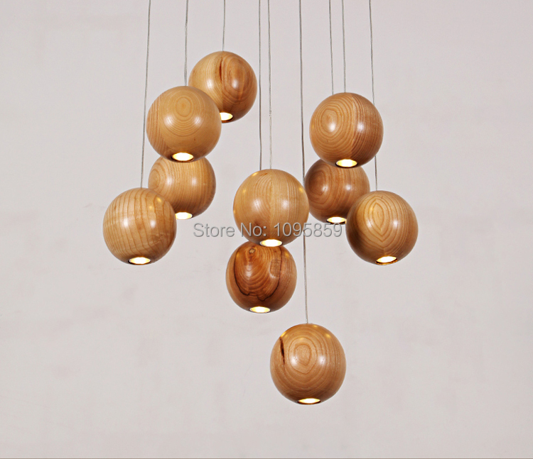 Free Shipping Modern Nordic Style 7/10/16 Ball LED Wood Pendant Light Lamp Foyer Ceiling Fixtures Lighting