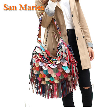 San Maries Studding! 100% Genuine Leather Tassel Bags Vintage Hobos Women Shoulder Bag Fringe Patchwork Handbags