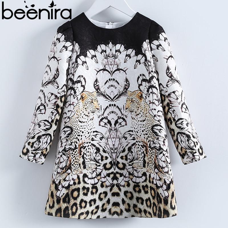 Beenira Girls Clothes Dress 2018 New Spring Style Children Leopard Pattern Long-Sleeve Dress For European And American Clothing недорго, оригинальная цена
