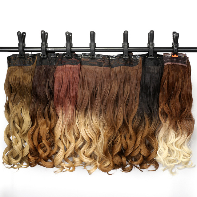 """Neverland 24"""" 60cm Wavy 5 Clips One Piece Clip in Hair Extensions Ombre Synthetic Blonde Fake Hair Hairpiece"""
