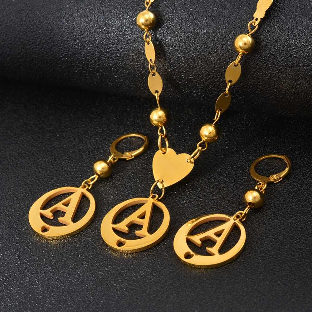 Anniyo SMALL SIZE A-Z Letters Necklace  Gold Color Marshall Initial Alphabet Beads Chain Jewelry Micronesia #029121B