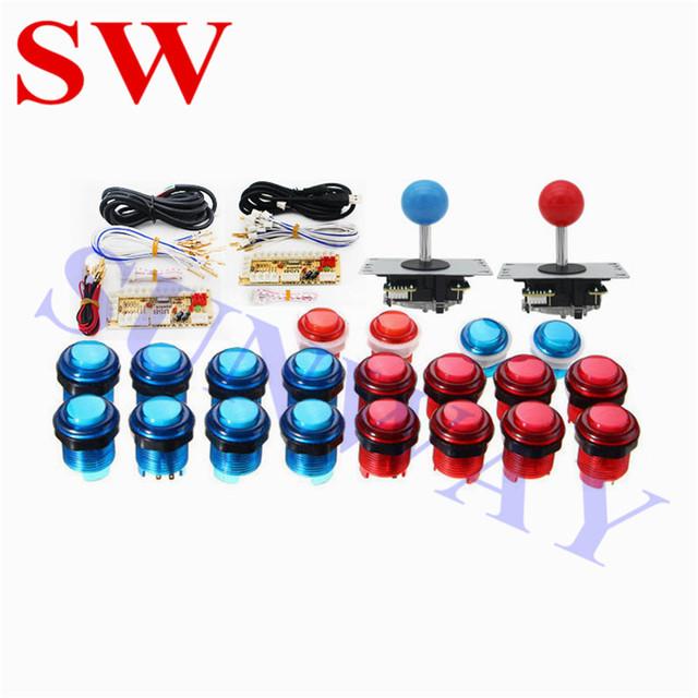 2 Players DIY Arcade Joystick Kits With 20 LED Arcade Buttons + 2 Joysticks + 2 USB Encoder Kit + Cables Joystick Arcade Set
