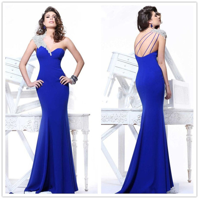 Hot Sale One Shoulder Beads Prom Dresses Pretty Sexy Long Slimming