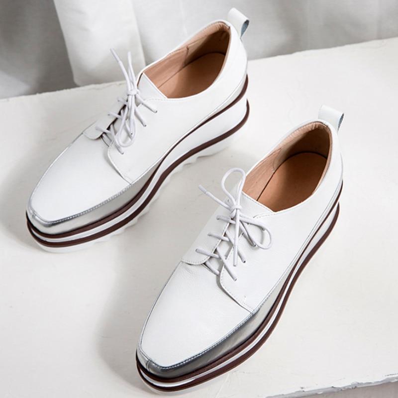 Zapatos de plataforma de primavera 2019 zapatos de tacón alto de mujer zapatos de cuero genuino de punta cuadrada zapatos de cuña cómodos de mujer-in Zapatos de tacón de mujer from zapatos    2