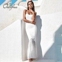 Ordifree 2018 נשים הקיץ ארוך שמלת בתולת ים שמלת מסיבה אלגנטית ספגטי רצועת שחור לבן תחרה סקסית מקסי טוניקת חוף שמלות