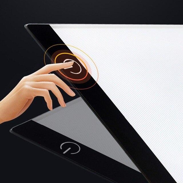 2019 nowy diament malarstwo A4 LED lightpad cienki rysunek artystyczny podświetlana tablica śledzenie pisanie przenośny elektroniczny Tablet Pad