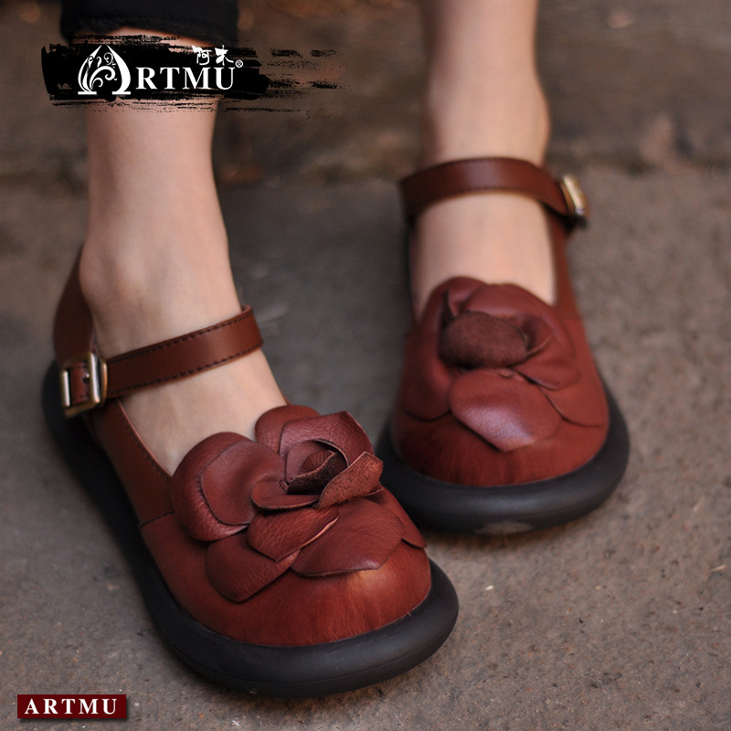 Artmu Original New Folk Style Handmade Flower Buckle Women Shoes Genuine Leather Retro Shoes Low Heel Cowhide Shoes 7005 original handmade autumn women genuine leather shoes cowhide loafers real skin shoes folk style ladies flat shoes for mom sapato