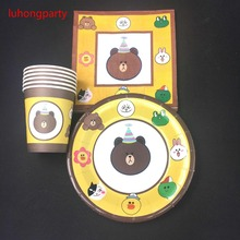 cartoon bear theme 20pcs plates +20pcs cups napkins for kids birthday party decoration items