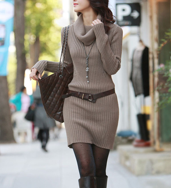 Fashion High Neck Elastic Cashmere Sweater Dress For Women