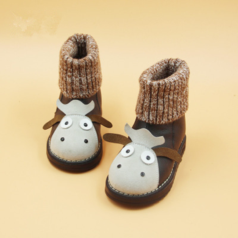 2016 New Fashion Children Shoes Winter Warm Cute Little Cows Snow Boots Girls Boys Cotton Leather Boot Black Kids Wholesale 2107 hot winter girls pu leather shoes for children fashion stud boots baby boys black snow boots kids brand warm boots pink