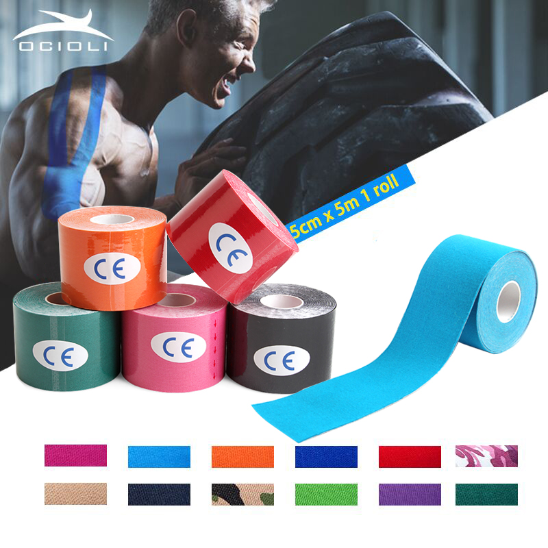 Elastic <font><b>Sport</b></font> <font><b>Injury</b></font> Muscle Tape Tapes Bandage Support Kinesiology Tape Knee Pads Support Protector Kinesiologe Kinesiologia Gym image