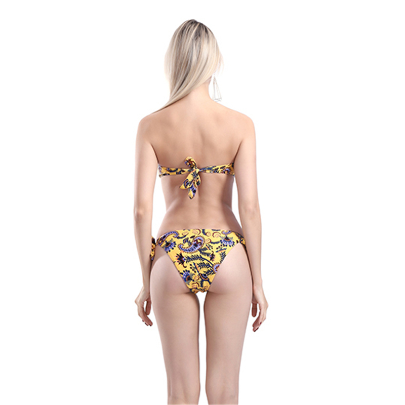 Floral Printing Swimming Suit For Women Yellow Strapless Thong Bikini 2019 Sale Lace Up Shaping Sexy Triangle Swimwear Ladies in Bikinis Set from Sports Entertainment