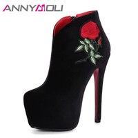 Annymoli النساء أحذية الشتاء التطريز الأحذية المخملية منصة المتطرفة عالية الكعب أحذية الكاحل البريدي أحذية الزفاف الأحمر الصينية الأسود