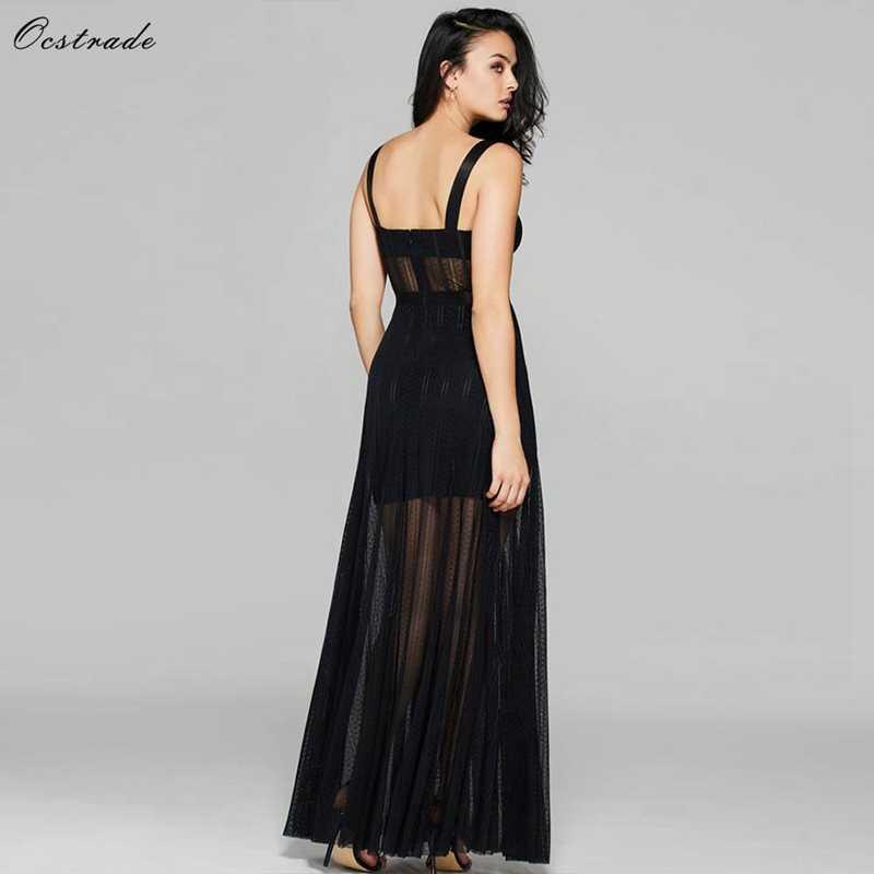 Ocstrade Черное длинное облегающее платье макси без рукавов с подкладом для груди прозрачное длинное облегающее платье SW041-Black