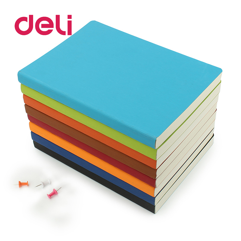 Deli 1pcs Colorful B5 Notepad 8 Colors Candy Business Simple Notebook Stationery B5 Diary Book Thick Korean Soft Leather Book