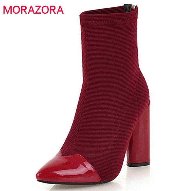 MORAZORA 2020 grande taille 33-46 bout pointu bottines femmes zipper talons hauts chaussures femme mode automne hiver chaussons noir