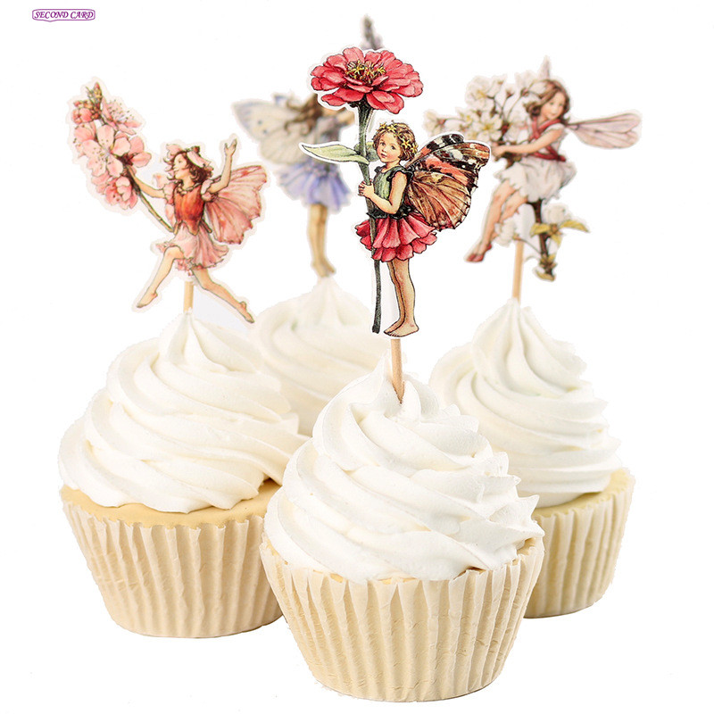 2017 new 24pcs cupcake toppers flower fairy party supplies for New home cupcake decorations