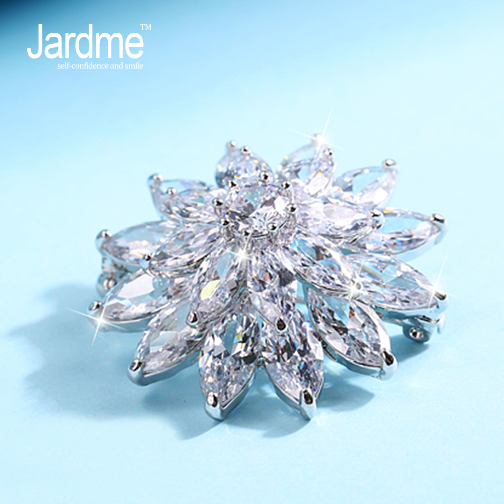 Jardme HIGH QUALITY Women Crystal Flower Brooch Pin Broach Bouquet Hijab Pin Broches Party Women