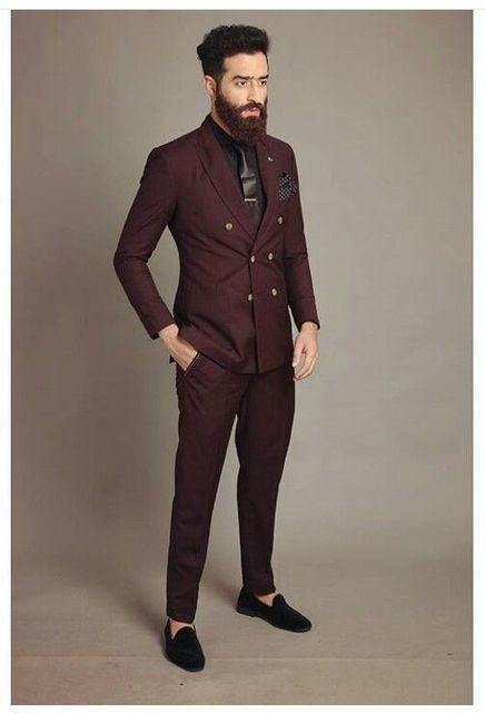 Latest Coat Pant Designs Burgundy Double Breasted Men Suit
