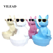 VILEAD 24cm Resin QR Code Geometry Lucky Dog Figurines Cute Animal Ornaments Creative Home Decoration Accessories Store Office