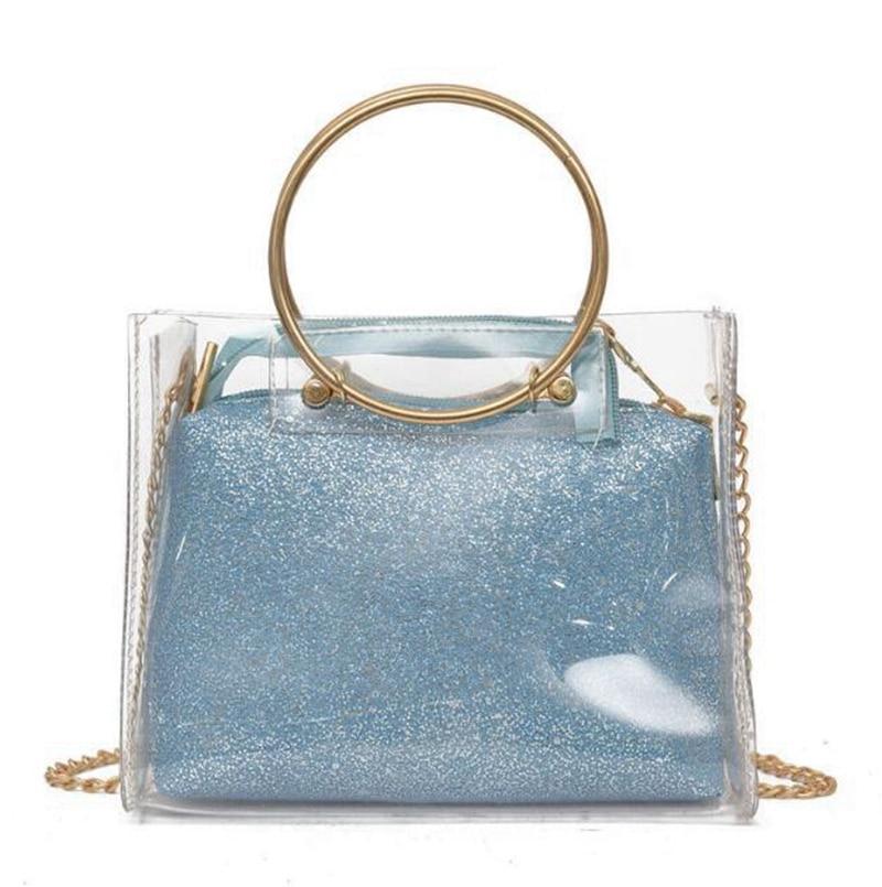 Di Donne Estate Bag Modo Borsa Le Rotondo Borse Chiare Trasparente Per  Composite Catena oro Crossbody ... ec51609c885