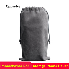 hot deal buy oppselve luxury velet phone pouch for iphone samsung huawei power bank earphone usb cable storage bag mobile phone accessories