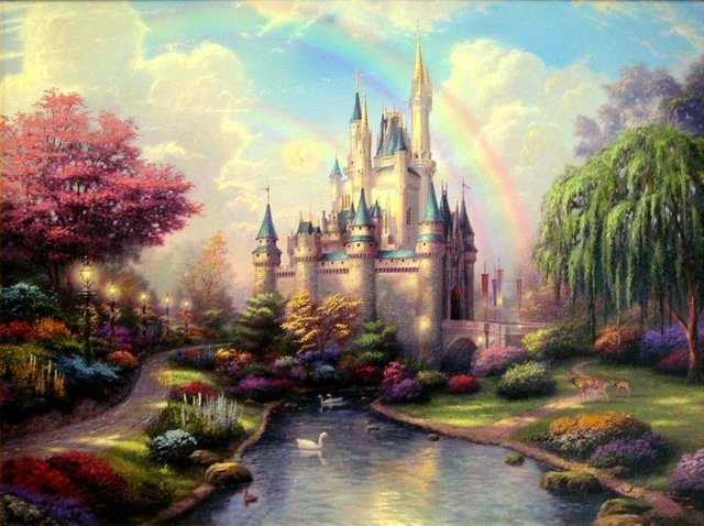 Free shipping hand-painted oil painting reproduction on canvas of Thomas Kinkade's painting- A New Day at the Cinderella Castle