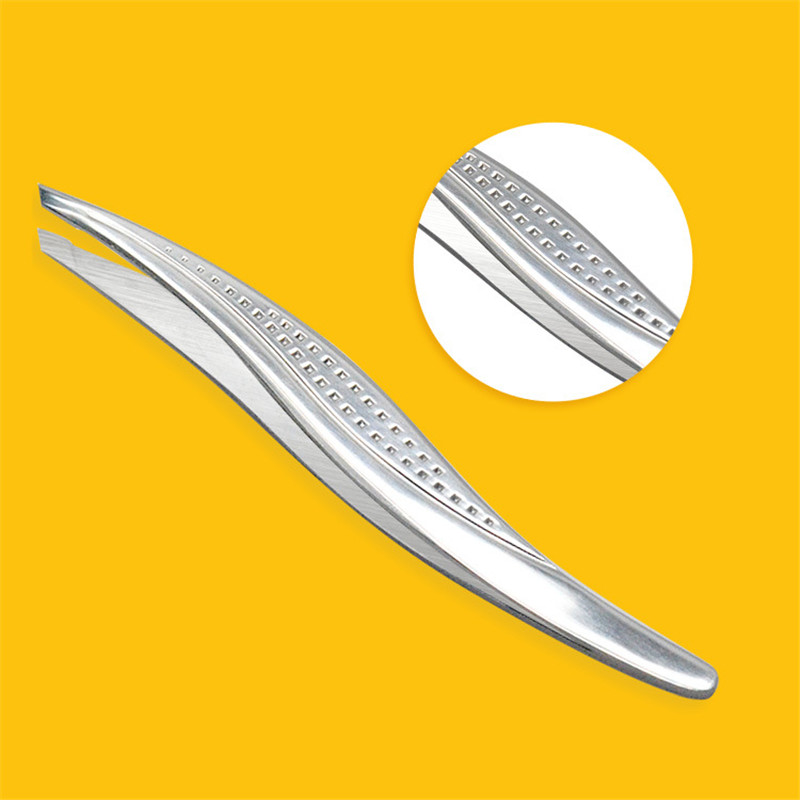 KESMALL 1Pc Stainless Steel Slanted Eyebrow Tweezers Face Nose Hair Remover Clips Women Cosmetics Beauty Tools CO892