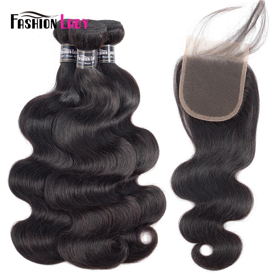 Fashion Lady Natural Color Human Hair 3 Bundles Brazilian Body Wave Hair Bundles With Lace Closure Free Part Non-Remy