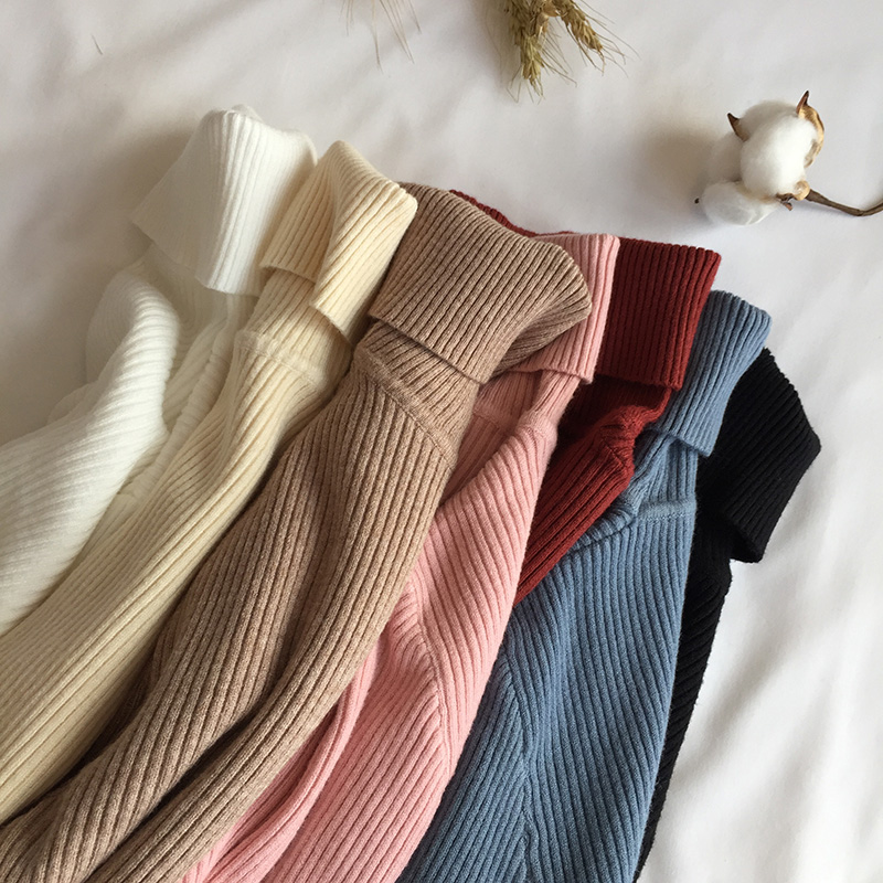 2019 Autumn Winter Thick Sweater Women Knitted Ribbed Pullover Sweater Long Sleeve Turtleneck Slim Jumper Soft