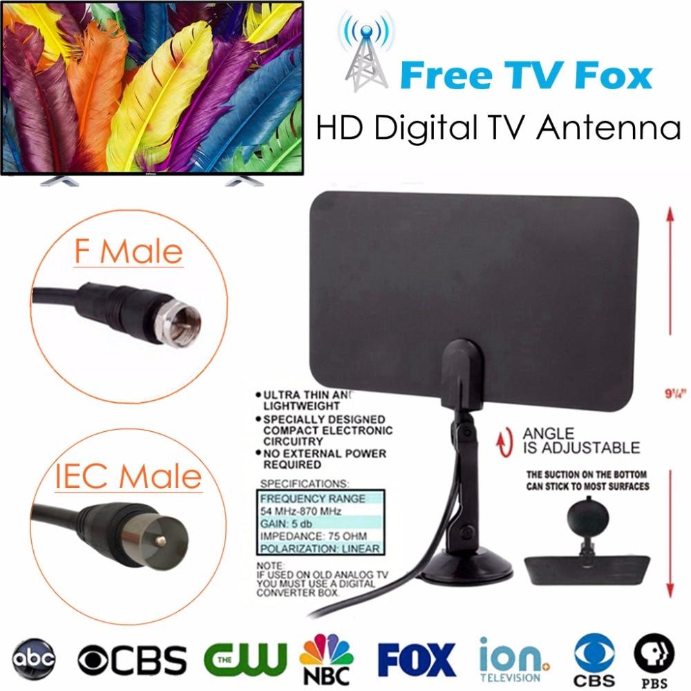 Indoor Kostenloser TV Fuchs Digital Analog Antenne TVFox HDTV Antena DVB-T DVB-T2 HD DTV VHF UHF PAL ATSC ISDB Signal Receiver Verstärker