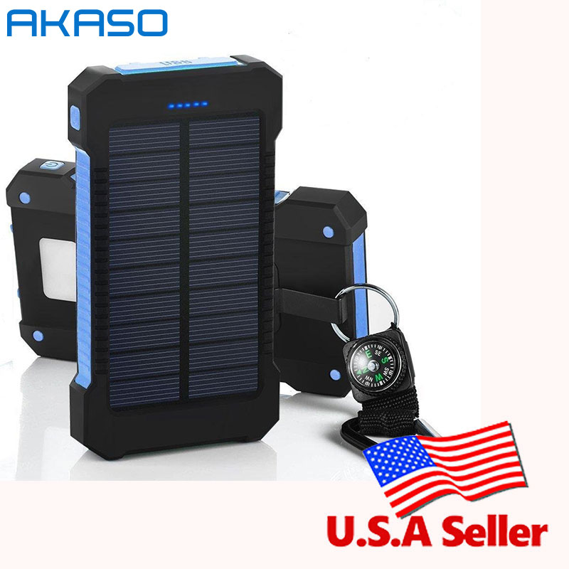 AKASO HOT Waterproof Solar Power Bank 10000mah Dual USB Mobile Solar Charger Waterproof Powerbank for All Pho With a compass