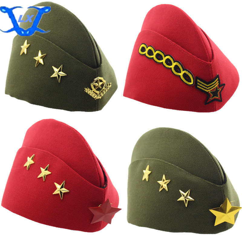Performing Caps Canvas Caps Stewardess Caps Summer Five-star Chain   Skullies     Beanies   Ponytail   Beanie