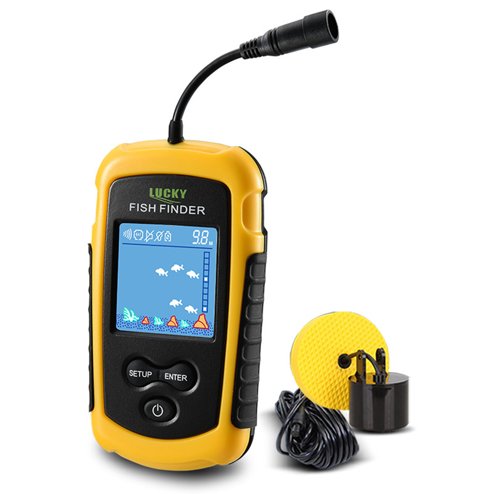 LUCKY Portable Wired Fish Finder LCD Color Screen 100M Depth Range Sonar Echo Sounders Fishfinder Carp