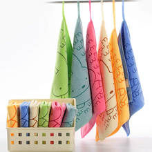 5pcs Hook Type Microfiber kids Face Towel cartoon Printed Kids Handkerchief baby Small Square Towel Saliva Tow clean towels(China)