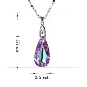 Image 5 - Warme Farben Fine Jewelry naszyjnik dla kobiet naszyjnik w kształcie kropli wody kryształ z Swarovski prezent urodzinowy Collares