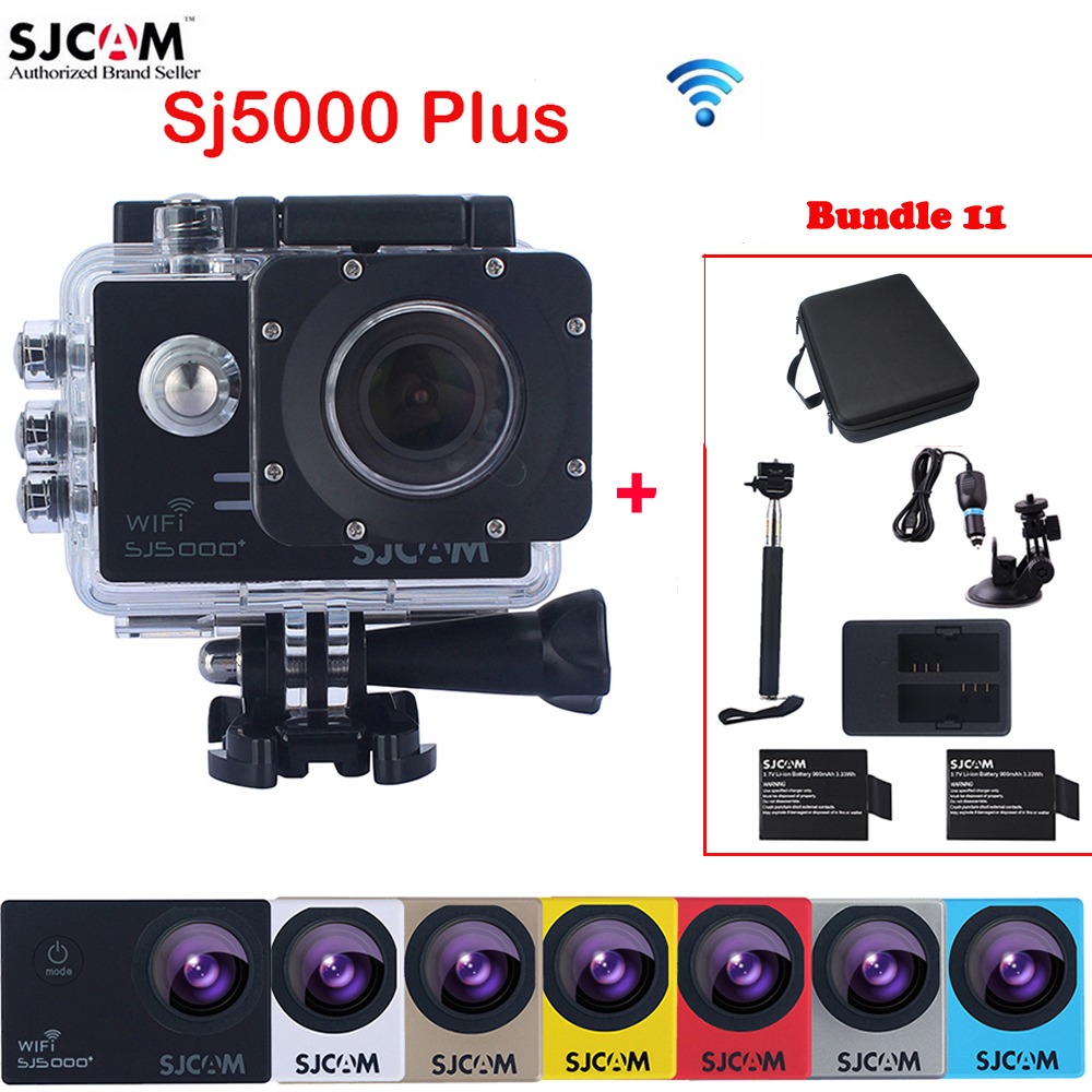 SJCAM SJ5000 Plus WiFi 30M Waterproof Sports Action Camera Sj Cam DVR+2 Battery+Dual Charger+Car Charger+Suction Cup+Monopod+Bag original sjcam m20 wifi 4k 24fps 30m waterproof sports action camera sj cam dvr 2 extra battery dual charger remote monopod