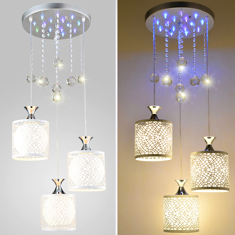 ФОТО Creative personality chassis with colorful LED three head lamp hanging crystal ball  hanging chandelier