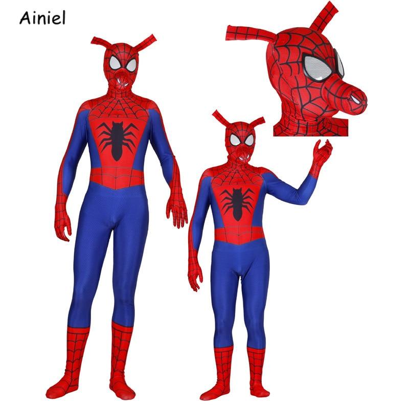 Spider-Man Into The Spider-Verse Cosplay Costume Peter Porker Spider-Ham Superhero Zentai Bodysuit Mask Halloween for Adult Kids