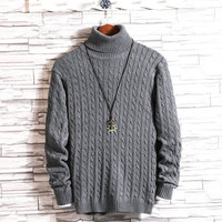 Winter New High Collar Sweater Men Thick Warm Fashion Solid Color Slim Fit Casual Long Sleeve knitting Pullover Man Size M 5XL